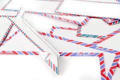Air Mail envelopes with paper plane Royalty Free Stock Photography