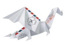 AIR MAIL Origami Dragon Royalty Free Stock Photography
