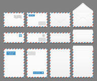 Air mail paper letter envelopes vector set Royalty Free Stock Photos