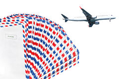 Air mail. Post envelopes and plane. Air mail theme Stock Photography