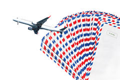 Air mail. Post envelopes and plane. Air mail theme Stock Image