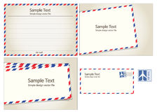 Air mail, postal stamp and letter. Blank note Royalty Free Stock Image