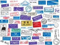 Air mail stamp set stock illustration