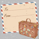 Air mail travel postcard with old grunge envelope. And suitcase covered with stickers from different countries vector illustration