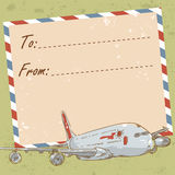 Air mail travel postcard with old grunge envelope Stock Photos