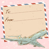 Air mail travel postcard with old grunge envelope Stock Images