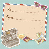Air mail travel postcard with old grunge envelope. And photo camera and sunglasses stock illustration