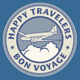 Air mail or travel stamp, with text Happy Travelers, Bon Voyage. Vector illustration vector illustration