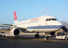 Air Malta airplane at the La Valletta airport. Air Malta airplane at the La Vallette airport Stock Photo