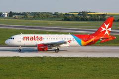 A320 Air Malta. PRAGUE, CZECH REPUBLIC - APRIL 23, 2014: Air Malta Airbus A320 after landing atPRG in Prague in Czech republic. Air Malta carried 1.74 million Stock Photos