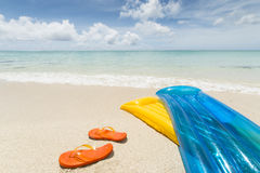 Air mattresses and beach Stock Image