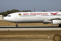 Air Mauritius A330 arriving for maintenance royalty free stock photo