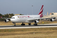 Air Mauritius A330 arriving for maintenance stock photo