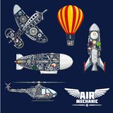 Air mechanics and mechanisms vector icons set. Air mechanics vector aircrafts and mechanisms. Construction parts, engines or gears, gauges, and screw nuts Royalty Free Stock Image