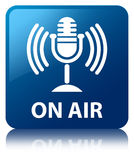 On air (mic icon) blue square button Stock Photo