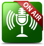 On air mic icon green square button Stock Photography