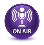 On air (mic icon) glassy purple round button Royalty Free Stock Photo