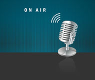 On air, microphone icon on a dark background. I have created on air, microphone icon on a dark background design concept stock illustration