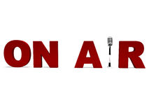 On Air Microphone Shows Broadcast Studio Or Live Radio vector illustration