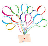 Air multicolored balloons lift up an envelope or letter with hearts Royalty Free Stock Image