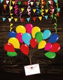 Air multicolored balloons raise an envelope or letter with heart. S. Garland of flags and confetti. Valentine`s Day. I love. Vector on wooden background Royalty Free Stock Photos