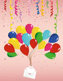 Air multicolored balloons raise an envelope or letter with hearts. Garland of flags and confetti. Valentine`s Day. I love. Vector. Greeting card or invitation Stock Photography