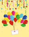 Air multicolored balloons raise an envelope or letter with hearts. Garland of flags and confetti. Valentine`s Day. I love. Vector. Greeting card or invitation Royalty Free Stock Photo