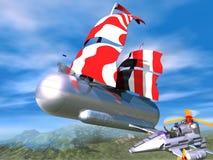 Air nave 3D. Air nave this airship close future Royalty Free Stock Image