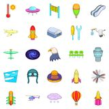 Air navigation icons set, cartoon style. Air navigation icons set. Cartoon set of 25 air navigation vector icons for web isolated on white background Stock Photo