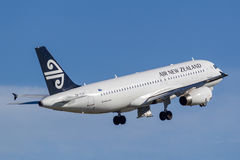 Air New Zealand Airbus A320 taking off from Sydney Airport. Royalty Free Stock Image