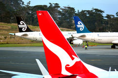 Air New Zealand and Qantas Stock Image