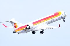 Air nostrum airlines from spain flight over sky of alicante airport Royalty Free Stock Images