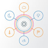 Air Outline Icons Set. Collection Of Stormy, Night, Sun And Other Elements. Also Includes Symbols Such As Moonshine, Sun Royalty Free Stock Photography