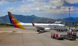 Air Pacific Boeing 737-800 Being at Nadi, Fiji royalty free stock image