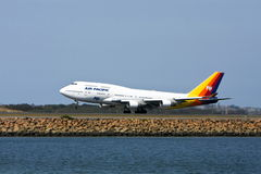 Air Pacific Boeing 747 jet on runway. Fiji's Air Pacific Boeing 747 jet airliner on taking off Royalty Free Stock Photo