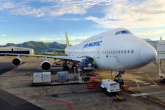 Air Pacific surfacent à l'aéroport international de Nadi, Viti Levu Islan Photo stock