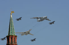 Air parade in Moscow Stock Images