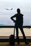 Air passenger waiting for the flight Royalty Free Stock Photos