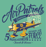 Air patrols squadron. Vintage vector print for children wear grunge effect in separate layer stock illustration
