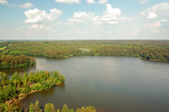 Air photo Lake Wagiel in Poland. Lake Wagiel  in Masuria. Beautiful view of the lake and forest Royalty Free Stock Photos