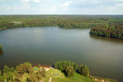 Air photo Lake Wagiel in Poland. Lake Wagiel  in Masuria. Beautiful view of the lake and forest Stock Photos