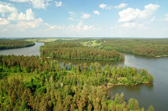 Air photo Lake Wagiel in Poland. Lake Wagiel  in Masuria. Beautiful view of the lake and forest Stock Images