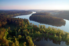 Air photo Lake Wagiel in Poland. Lake Wagiel  in Masuria. Beautiful view of the lake and forest . Sunset Royalty Free Stock Photo