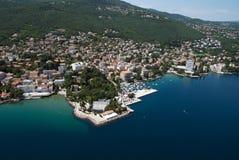 Air photo of Opatija riviera on adriatic sea in Croatia. Horizontal panoramic air photo of Opatija riviera with beaches,mountains and adriatic sea Stock Photos
