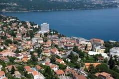 Air photo of Opatija riviera on adriatic sea and hotel Ambasador Royalty Free Stock Photos