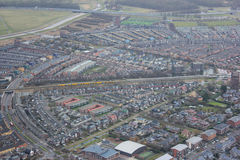 Air photo. Purmerend is a municipality and a city in the Netherlands, in the province of North Holland. The city is surrounded by polders, such as the Purmer Royalty Free Stock Photography