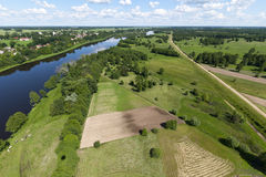 Air photo River Bug. Gamin Nur in Poland. Beautiful view of the river and meadows Royalty Free Stock Photos