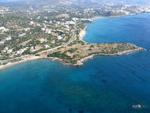 Air photograph, Amoudara Beach, Agios Nikolaos, Crete, Greece Royalty Free Stock Photography