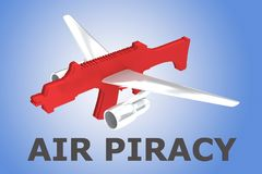 AIR PIRACY concept. 3D illustration of AIR PIRACY title with red rifle and airplane wings on blue gradient Royalty Free Stock Images