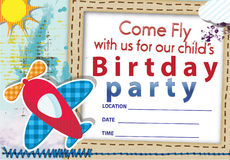 Air plane birthday invitation No 1 Stock Photo